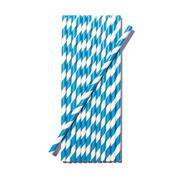 bluestraw Paper Drinking Straws (6x195mm) - light blue striped, 100pcs