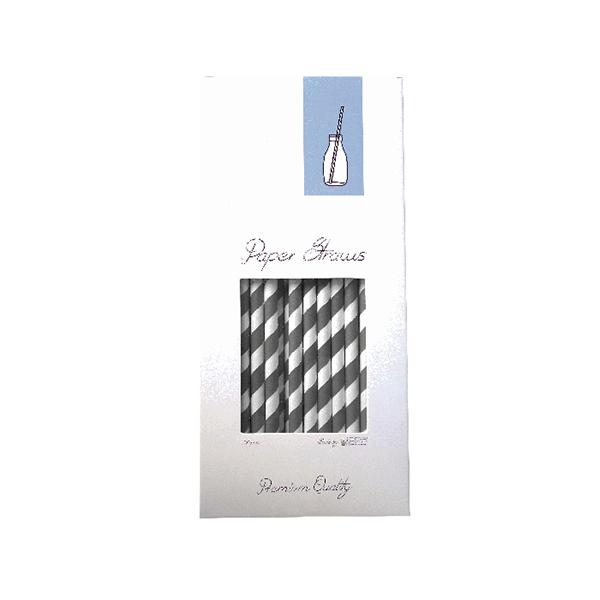greywhite 1 PAPER STRAW - GREY & WHITE - 8X255MM - 100PCS