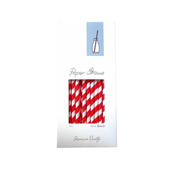 paperred PAPER STRAW - RED & WHITE - 8X255MM - 100PCS