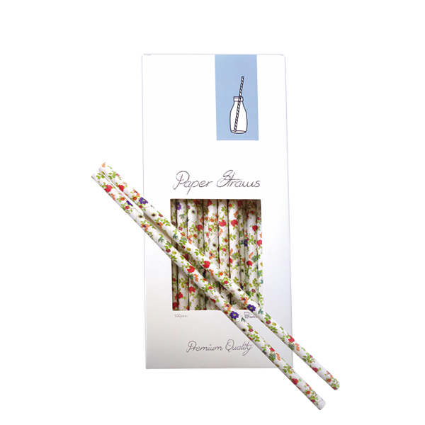 paperstrawflowers Paper Straw - Flowers 8x255mm (100pcs)