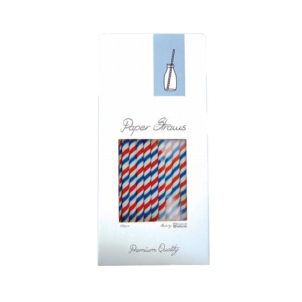 redwhiteblue 1 PAPER STRAW - RED, BLUE & WHITE - 8X255MM - 100PCS