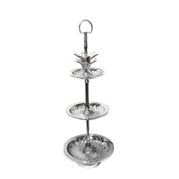 tray1wc 3 LEVEL PINEAPPLE SERVING TRAY - SILVER
