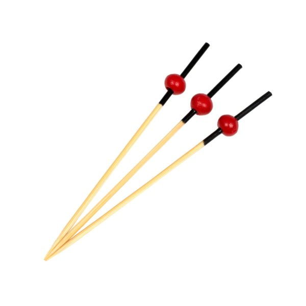 01700 Bamboo Pick Red Ball 70mm - 250pcs